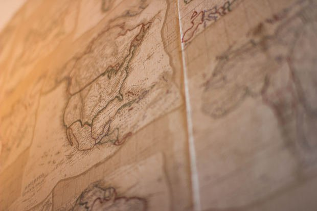 Close up of vintage map